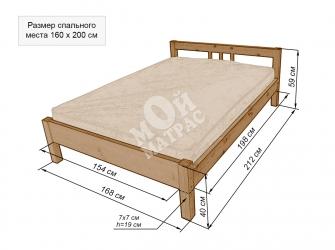 Чертёж кровати 120 на 200
