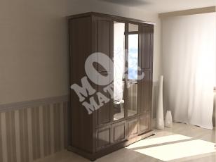 Фото Шкаф четырехстворчатый с нижней антресолью с зеркалом из серии